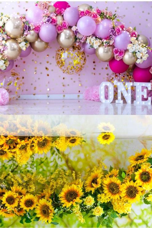 Fundo Fotográfico 2 em 1 - Smash Balões / Girassol