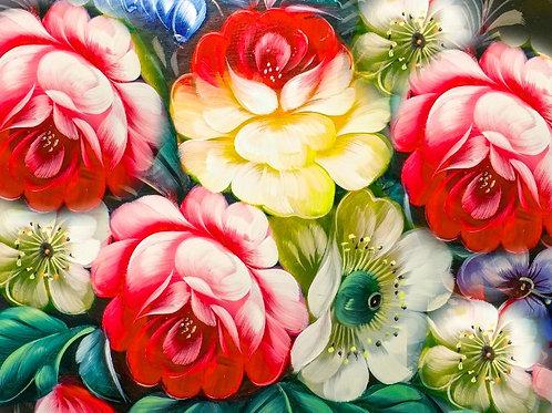 Fundo Fotográfico em Tecido Helanca Light - Floral Gestante