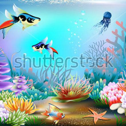 Fundo Fotografico Tecido Helanca Light - Fundo do Mar