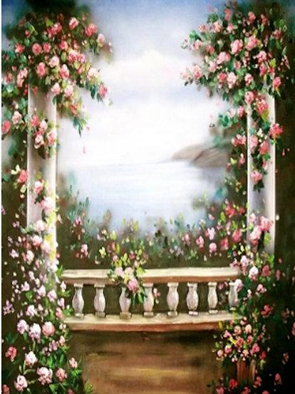 Fundo Fotográfico em Tecido Helanca Light - Floral Aquarela Vintage