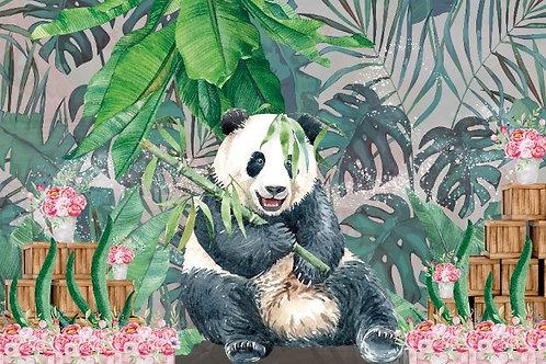 Fundo Fotográfico em Tecido Helanca Light - Panda menina