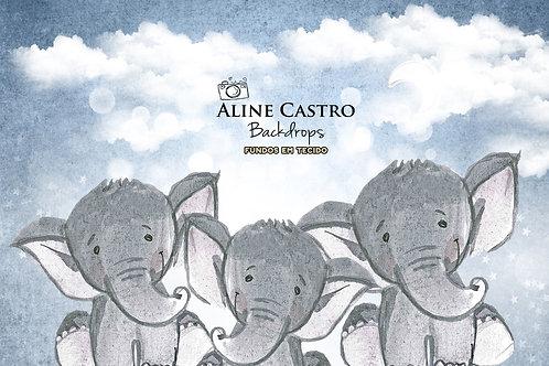 Fundo Fotografico Tecido Helanca Light - Elefante