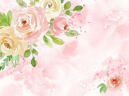 Fundo Fotográfico Tecido Helanca Light - Floral WaterColor