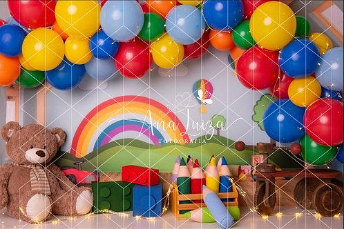 Fundo Fotográfico em Tecido Helanca Light -Quarto de brinquedo- Ana Luiza