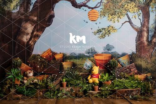 Fundo Fotográfico em Tecido Helanca Light - Urso Poof_ Kenia Miran