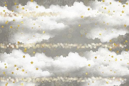 Fundo Fotográfico em Tecido Helanca Light - Estrela Nuvens