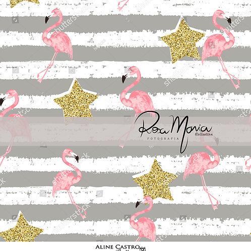 Fundo Fotografico Tecido Helanca Light- Estrelas e flamingos