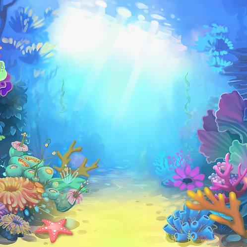 Fundo Fotografico Tecido Helanca Light - Fundo do Mar - Cod. 0038