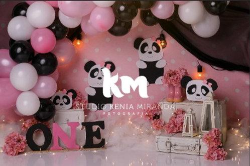 Fundo Fotográfico em Tecido Helanca Light - Panda rosa - Kenia Miranda