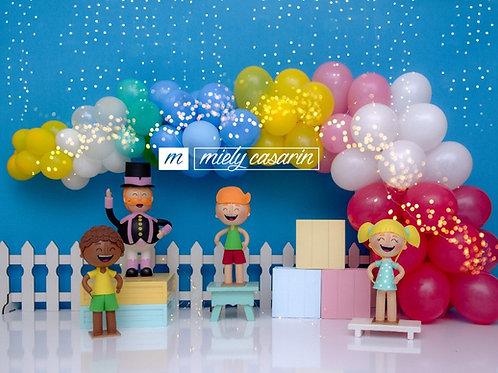 Fundo Fotográfico em Tecido Helanca Light - Balões - Miely Casarin