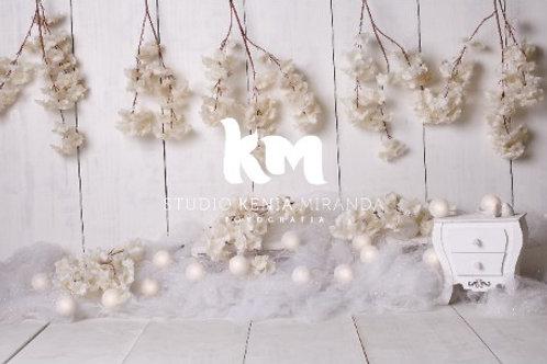 Fundo Fotográfico em Tecido Helanca Light -Floral - Kenia Miranda