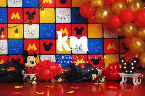 Fundo Fotográfico em Tecido Helanca Light - Smash Mickey - Kenia Miranda