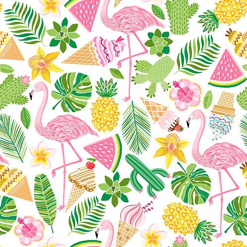 Fundo Fotográfico em Tecido Helanca Light - Frutas e Flamingo