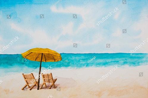 Fundo Fotográfico em Tecido Helanca Light - Praia Verão Aquarela
