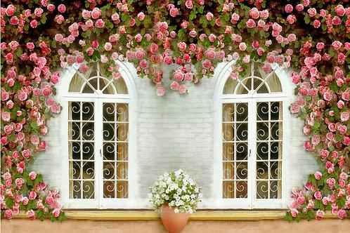 Fundo Fotográfico em Tecido Helanca Light - Floral Janela