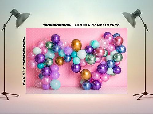 Fundo Fotografico em Tecido - Balões Metalicos