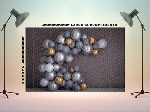 Fundo Fotografico em Tecido - Balões Prata