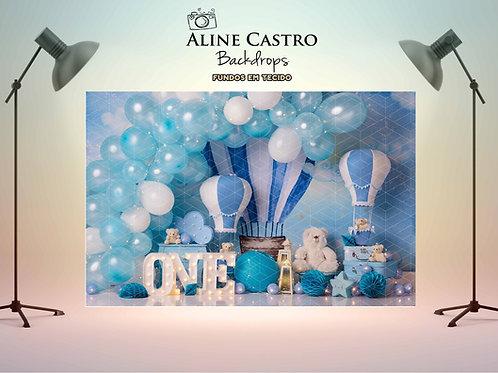 Fundo Fotografico Tecido Helanca Light - Balão Azul KM
