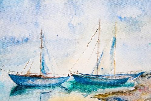 Fundo Fotográfico em Tecido Helanca Light - Barco aquarela