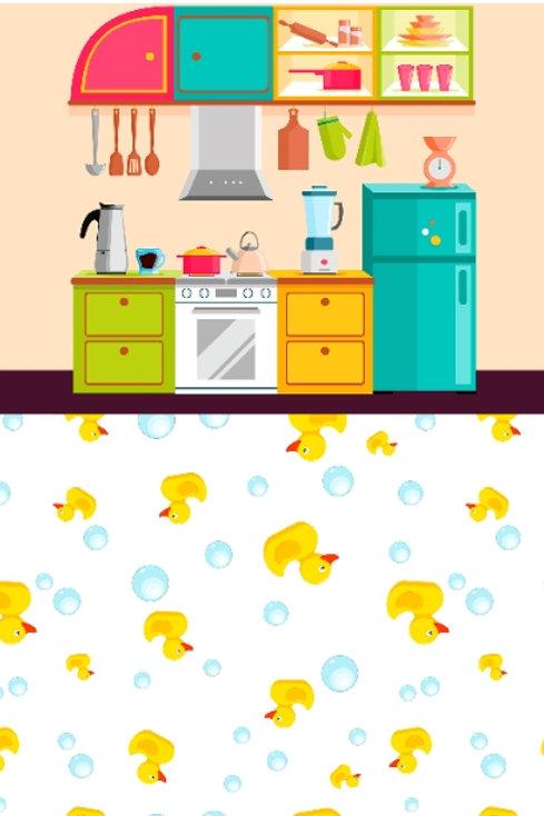 Fundo Fotográfico 2 em 1 - Cozinha/Patos