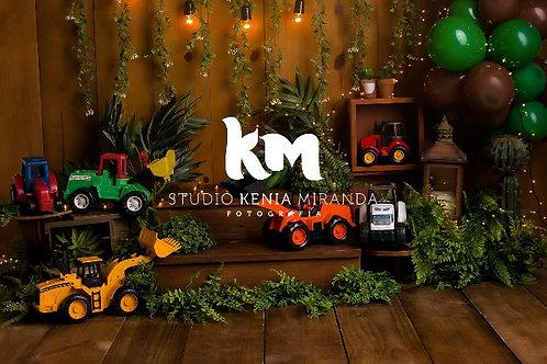 Fundo Fotográfico em Tecido Helanca Light -Tratorzinho  - Kenia Miranda