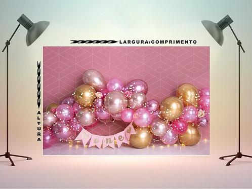 Fundo Fotografico em Tecido -  Smash Balões Dourados