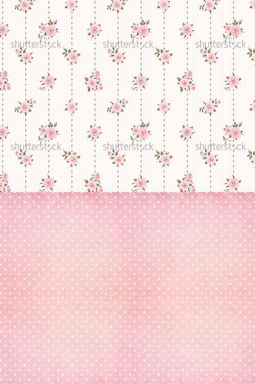 Fundo Fotográfico em Tecido Helanca Light - Floral Parede e Piso