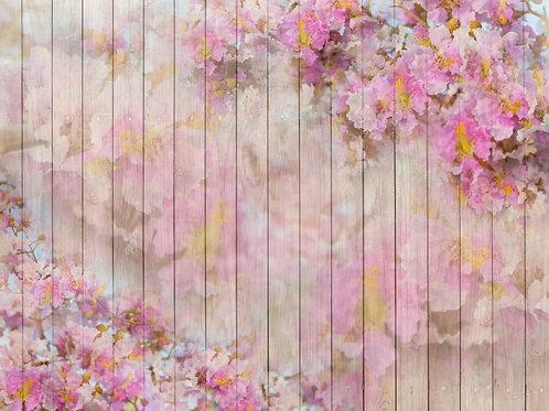 Fundo Fotografico Tecido Helanca Light - Madeira Floral
