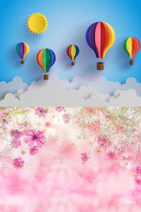 Fundo Fotográfico 2 em 1 - Floral / Balão