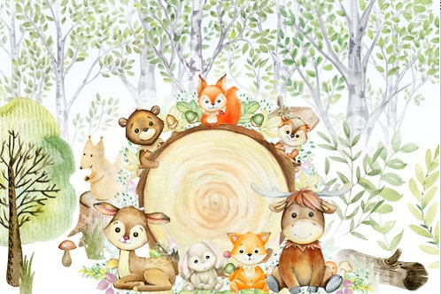 Fundo Fotográfico em Tecido Helanca Light - Floresta/animais