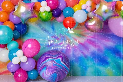 Fundo Fotográfico em Tecido Helanca Light -tie dye - Ana Luiza