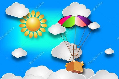 Fundo Fotográfico em Tecido Helanca Light - Balão Nuvens