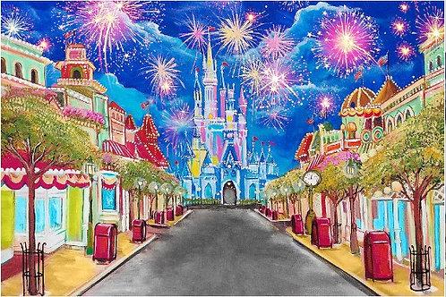 Fundo Fotográfico em Tecido Helanca Light - Castelo Disney