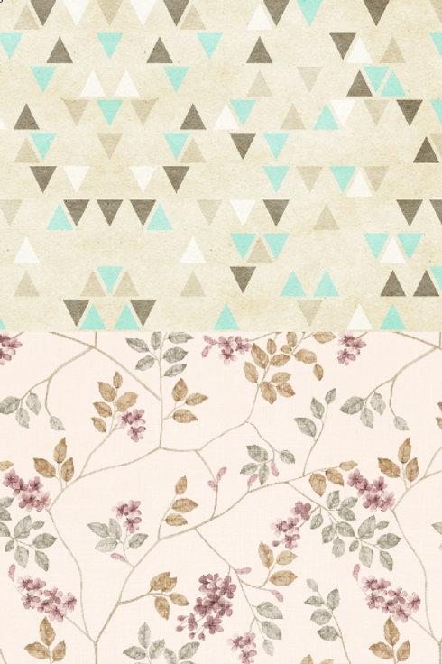Fundo Fotográfico 2 em 1 - Floral / Triangulo Formas Geometricas