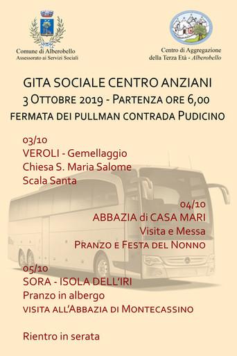 Servizi Sociali, dal 3 al 5 ottobre la Gita Sociale