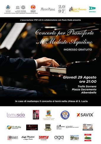 «Concerto per pianoforte del Maestro Modesto Aquilino», appuntamento giovedì 29 agosto