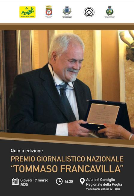 Premio Nazionale Giornalistico Tommaso Francavilla 2020 - Regolamento
