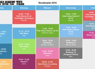 Neue Kurse Stundenplan 2016/ Nouvel horaire des cours 2016
