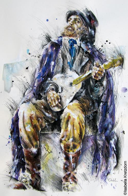Musicien de rue avec la guitare