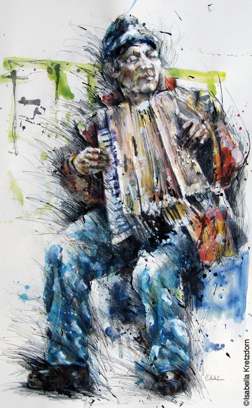 Musicien de rue avec l`accordéon