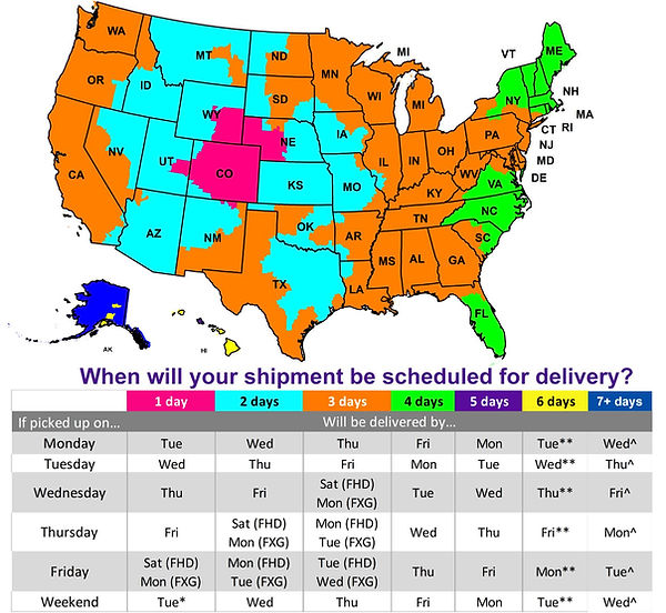 Colorado FedEx shipping ground map clear
