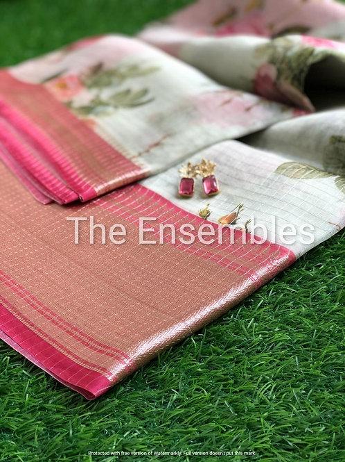 Pastel handwoven Organza Silk saree