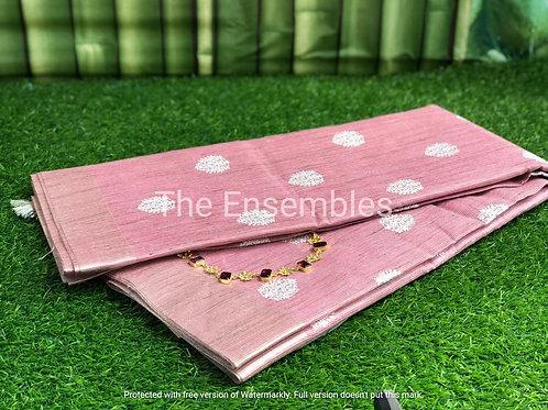 Handwoven Onion Pink Kota Tissue Saree