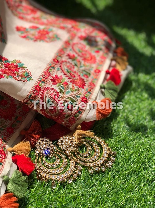 White & Red Organza Silk Saree with Kashmiri Embroidery