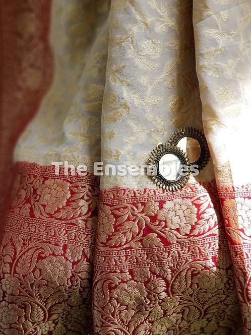 Pure Banarasi Georgette Saree in White and Red