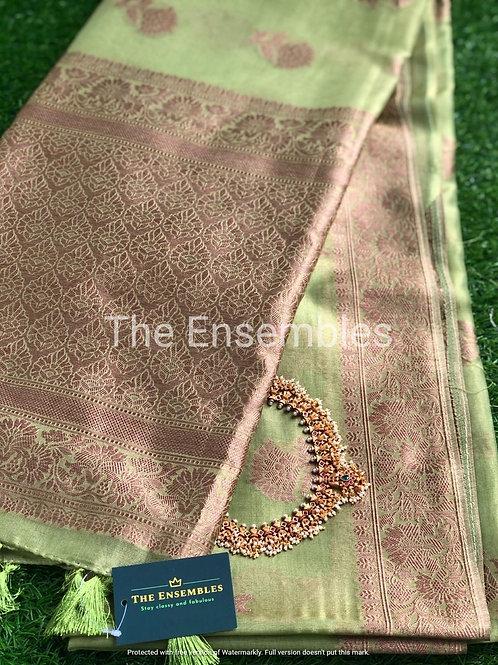 Premium Handwoven Chanderi Tissue Banarasi Saree in Light Green