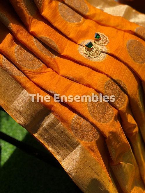 Mustard Yellow Chanderi Banarasi Saree