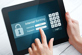 Female hands using internet banking on