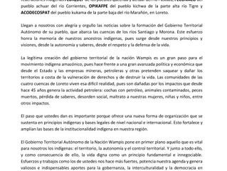 FEDIQUEP, FECONACO, OPIKAFPE Y ACODECOSPAT saludan al Gobierno Territorial Autónomo de la Nación Wam