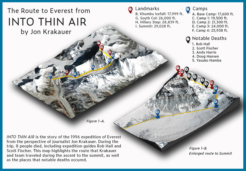 Into Thin Air Map of Everest